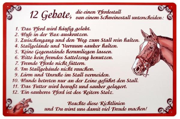 """WAHL-Hausmarke Schild """"12 Gebote..."""""""